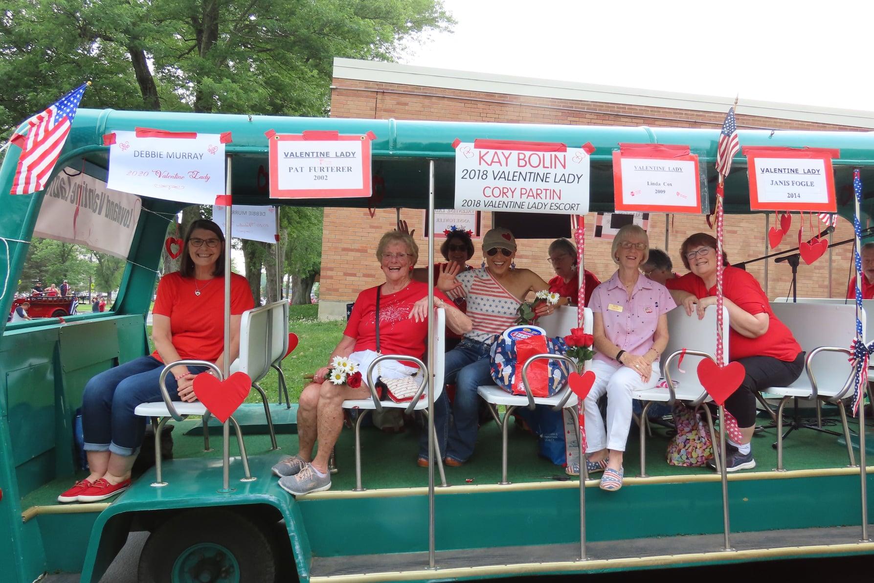 Valentine ladies ridining in parade