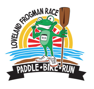 cartoon frog with paddle event logo