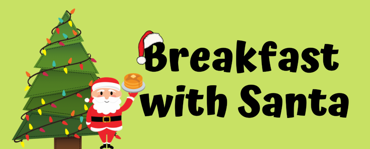 Breakfast with Santa logo; santa and tree